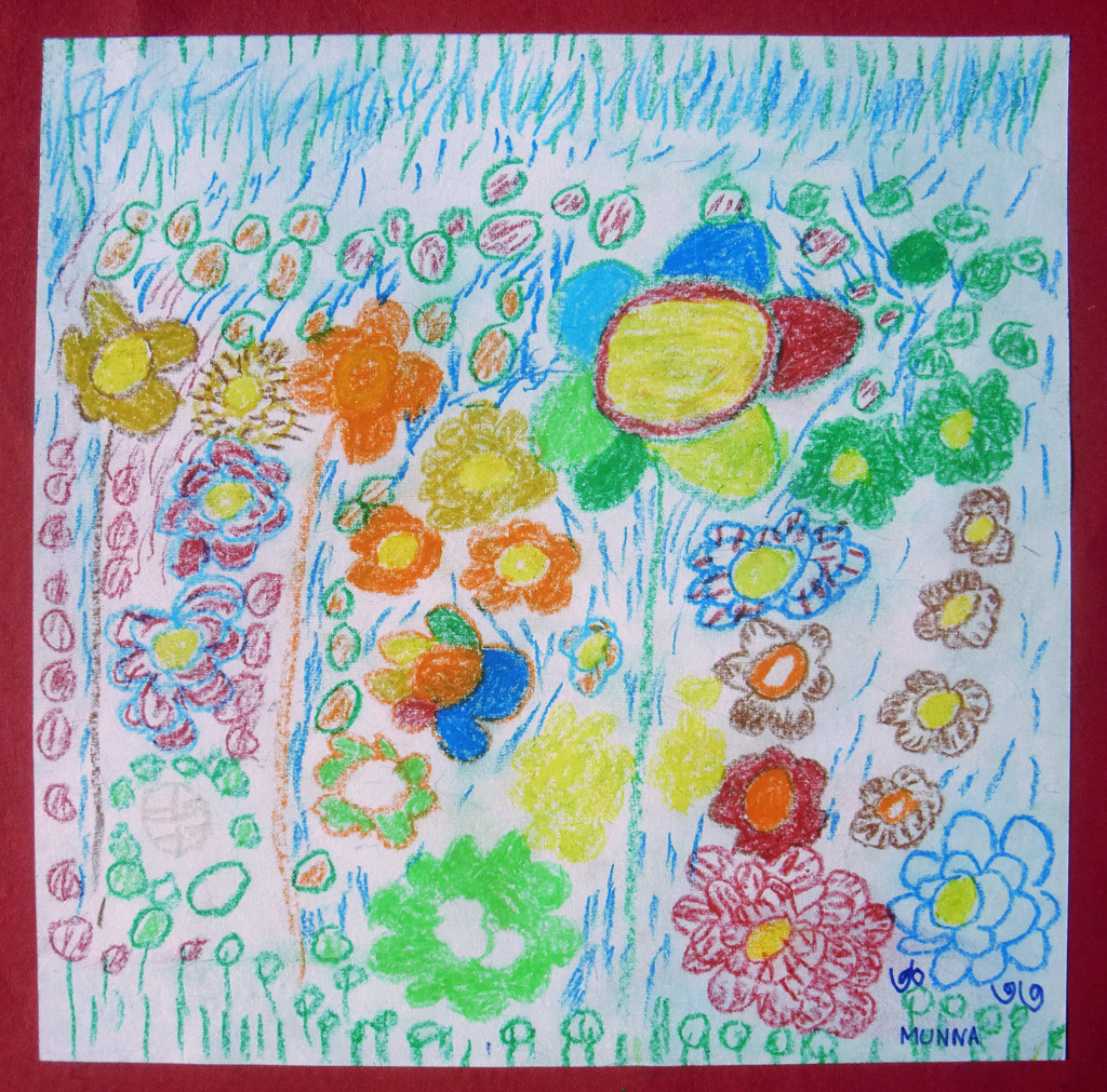 BD-LArche_Mymensingh-Muhammad_Munna-We_are_little_flowers-30x30-Crayons_on_paper-2014