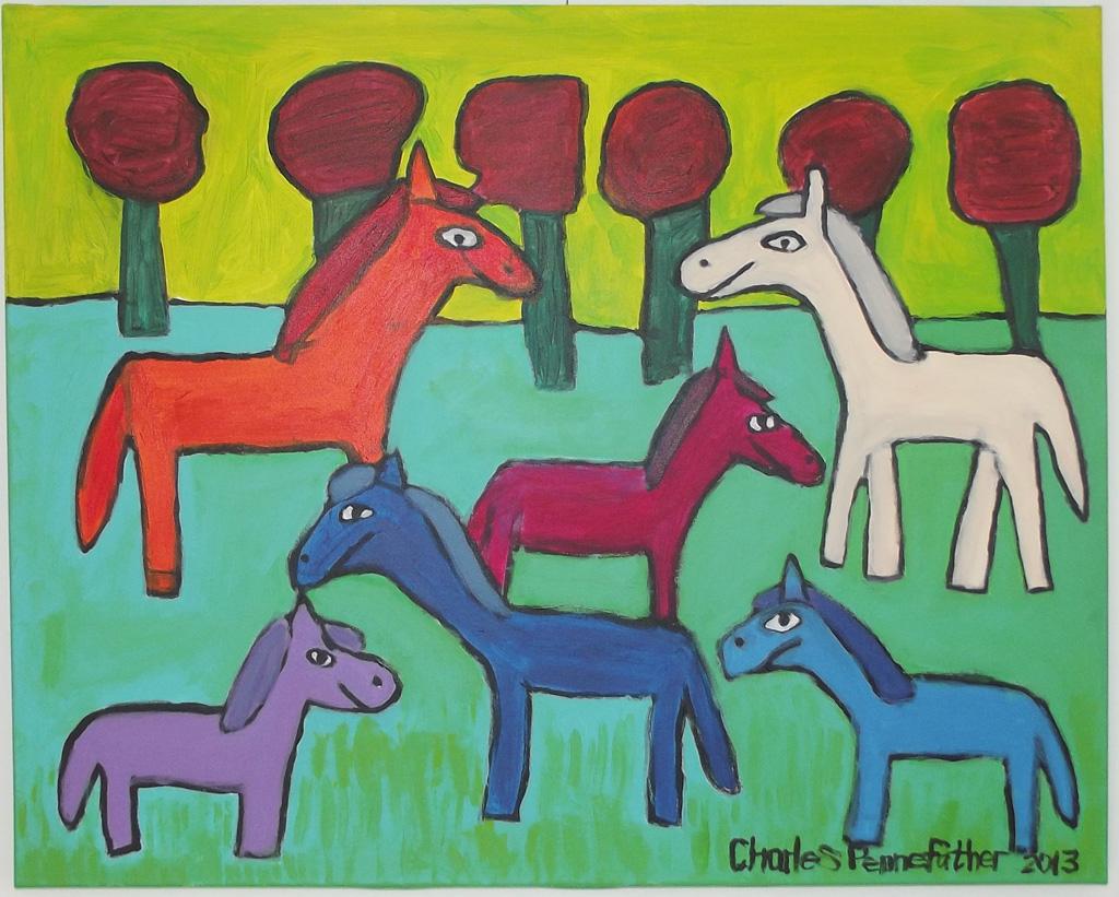CA-LArche_Beloeil-Charles_Pennefather-Les_chevaux-60x76-Acrylique-sur_toile-2013