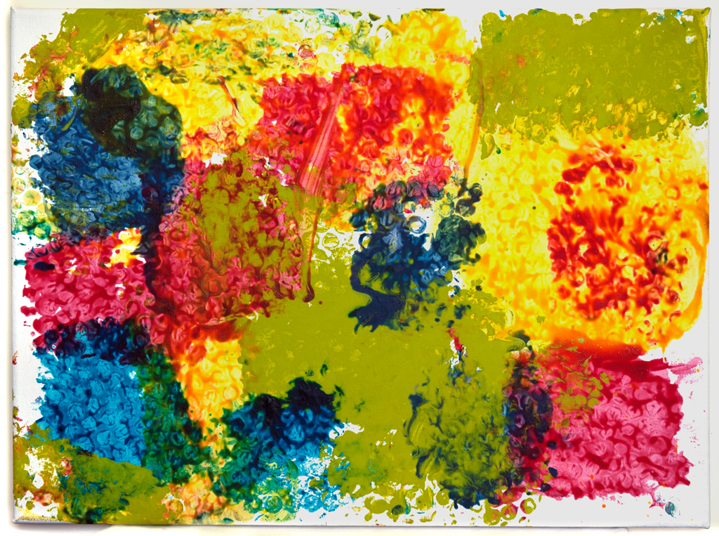 CA-LArche_Winnipeg-Ross_Hawkins-Dumping_colours-30x41-Paint_on_canvas_with_bubble_wrap_impressions-2014